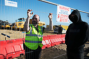 A constant security pressence guard the developing building site, outside Dipton in Pont Valley, 5 May 2018 , County Durham, United Kingdom. Many locals have complained about tactics of intimidation and excessive use of force during the eviction in May. Day of protest in Pont Valley, 5 May 2018 against the extraction of coal by the mining company Banks outside Dipton in Pont Valley, County Durham. Locals have fought the open cast coal mine for thirty years and three times the local council rejected planning permissions but central government has overruled that decision and the company Banks was granted the license and rights to extract coal in early 2018. Locals have teamed up with climate campaigners and together they try to prevent the mining from going ahead. The mining will have huge implications on the local environment and further coal extraction runs agains the Paris climate agreement. A rare species of crested newt is said to live on the land planned for mining and protectors are trying to stop the mine to save the newt.