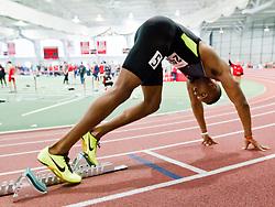 Boston University Terrier Classic Indoor Track Meet, sprinter in blocks