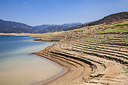 Castaic Lake, a terminus of the West Branch California Aqueduct is at 55% of capacity during California's declared drought State of Emergency. Los Angeles County, California, USA