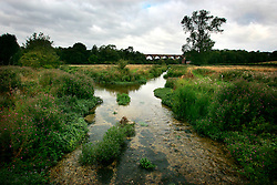 UK ENGLAND HAMPSHIRE ST MARY BOURNE 12AUG06 - Two stretches of the Bourne river meet near an old viaduct near St. Mary Bourne. One arm of the river runs through the Watercress beds and is highly enriched with nutrients while the other stretch contains other pollutants from the salad washing facility on the Watercress site...jre/Photo by Jiri Rezac..© Jiri Rezac 2006..Contact: +44 (0) 7050 110 417.Mobile:  +44 (0) 7801 337 683.Office:  +44 (0) 20 8968 9635..Email:   jiri@jirirezac.com.Web:    www.jirirezac.com..© All images Jiri Rezac 2006 - All rights reserved.