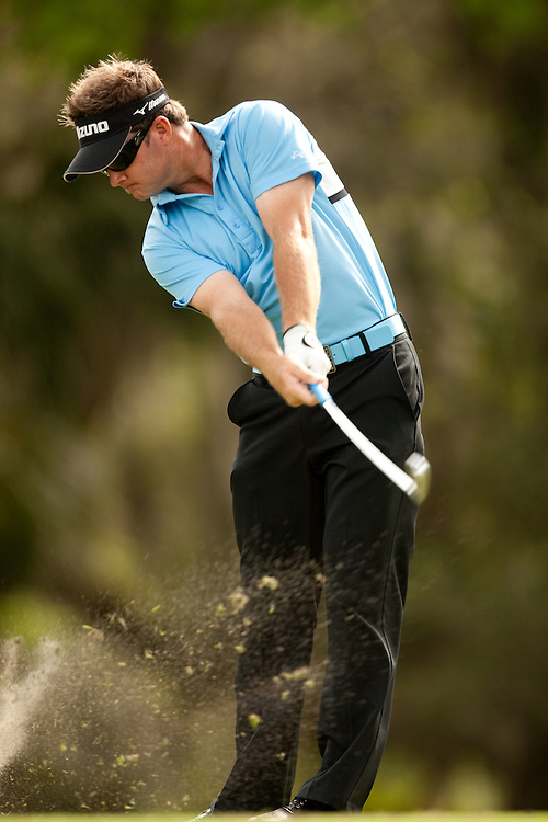 HILTON HEAD, SC - APRIL 18:  Brian Gay hits his shot during the third round of the 2009 Verizon Heritage in Hilton Head, South Carolina at Harbour Town Golf Links on Saturday, April 18, 2009. (Photograph by Darren Carroll) *** Local Caption *** Brian Gay