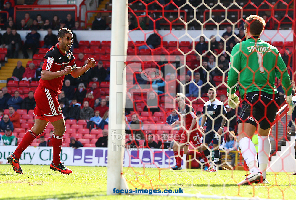 Picture by Paul Terry/Focus Images Ltd +44 7545 642257.27/04/2013.Lewin Nyatanga of Bristol City celebrates after he scores to make it 3-1 during the npower Championship match at Ashton Gate, Bristol.
