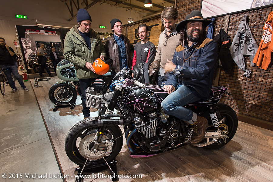 """Yamaha's """"yard Built"""" program for custom builders at EICMA, the largest international motorcycle exhibition in the world. Milan, Italy. November 17, 2015.  Photography ©2015 Michael Lichter."""