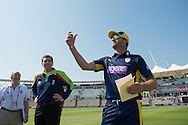 Hampshire captain Sean Ervine at the coin toss ahead of the Royal London One Day Cup match between Hampshire County Cricket Club and Essex County Cricket Club at the Ageas Bowl, Southampton, United Kingdom on 5 June 2016. Photo by David Vokes.