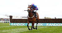 National Hunt Horse Racing - 2017 Randox Grand National Festival - Thursday, Day One [Grand Opening Day]<br /> <br /> Paddy Brennan on Cue Card in the 14.50 The Betway Bowl Steeple Chase (Grade1), at Aintree Racecourse.<br /> <br /> COLORSPORT