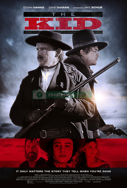 RELEASE DATE: March 8, 2019 TITLE: The Kid STUDIO: Lionsgate DIRECTOR: Vincent D'Onofrio PLOT: The story of a young boy who witnesses Billy the Kid's encounter with Sheriff Pat Garrett. STARRING: CHRIS PRATT as Grant Cutler, ETHAN HAWKE as Pat Garrett poster art. (Credit Image: ? TriStar Pictures/Entertainment Pictures/ZUMAPRESS.com)