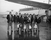 07/05/1976<br /> 05/07/1976<br /> 7th May 1976 Irish Rugby team leave Dublin Airport for New Zealand Tour. The Munster members of the team (l-r): Moss Keane, Lansdowne (UCC); Brenden Foley, Shannon; Shay Deering, Garryowen; Kevin Quilligan, Manager, Limerick; Donal Canniffe, Lansdowne (UCC); Phil O'Callaghan, Dolphin; Pat Whelan, Garryowen; Larry Moloney, Garryowen and Barry McGann, Cork Constitution.