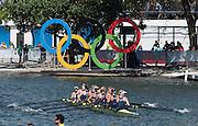 "Rio de Janeiro. BRAZIL.   Women's 8's Final. 2016 Olympic Rowing Regatta. Lagoa Stadium,<br /> Copacabana,  ""Olympic Summer Games""<br /> Rodrigo de Freitas Lagoon, Lagoa.   Saturday  13/08/2016<br /> GBR W8+. Bow. Katie<br /> GREVES, Melanie  WILSON, Frances HOUGHTON, Polly  SWANN,  Jessica EDDIE,  Olivia CARNEGIE-BROWN, Karen BENNETT, Zoe LEE and  Zoe DE TOLEDO, <br /> <br /> [Mandatory Credit; Peter SPURRIER/Intersport Images]"