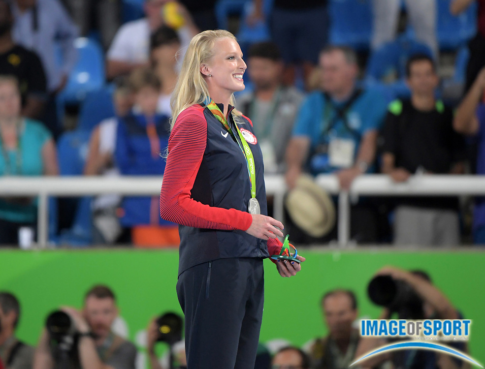 Aug 20, 2016; Rio de Janeiro, Brazil; Sandi Morris (USA) poses with silver medal after placing second in the women's pole vault during the 2016 Rio Olympics at Estadio Olimpico Joao Havelange. <br /> <br /> *