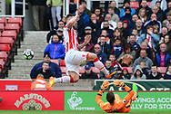 Marko Arnautovic of Stoke city  is denied by a save from Adrian of West Ham . Premier league match, Stoke City v West Ham Utd at the Bet365 Stadium in Stoke on Trent, Staffs on Saturday 29th April 2017.<br /> pic by Bradley Collyer, Andrew Orchard sports photography.