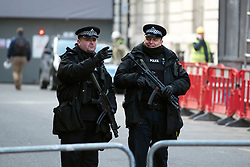 © Licensed to London News Pictures. 22/01/2015. London, UK. Armed officers near St James Palace.  Armed police officers in and around central London today 22 January 2015. UK Foreign Secretary Philip Hammond said that ISIS is the greatest threat to the UK's security at the moment. Photo credit : Stephen Simpson/LNP