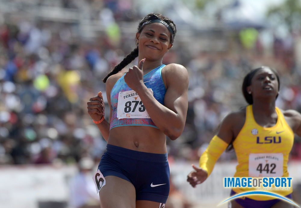 Mar 31, 2018; Austin, TX, USA; Blessing Okagbare (NGR) celebrates after winning the women's 100m in a wind-aided 10.72 during the 91st Clyde Littlefield Texas Relays at Mike A. Myers Stadium.