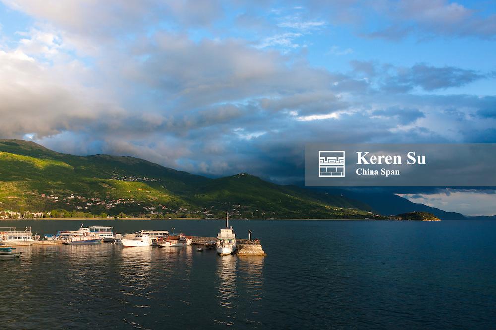 Dock in Lake Ohrid, UNESCO World Heritage site, Republic of Macedonia