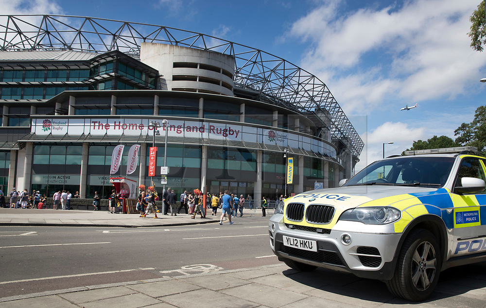 © Licensed to London News Pictures. 27/05/2017. London, UK. A police armed response vehicle is seen outside Twickenham stadium ahead of the Aviva Premiership Rugby Final. Security has been increased at venues across the UK, with the military called in to help police, following a terrorist attack at a music concert in Manchester on Monday evening. Photo credit: Peter Macdiarmid/LNP
