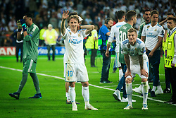 Luka Modric of Real Madrid, Toni Kroos of Real Madrid celebrate after they won 3-1 during the UEFA Champions League final football match between Liverpool and Real Madrid and became Champions League  2018 Champions third time in a row at the Olympic Stadium in Kiev, Ukraine on May 26, 2018.Photo by Sandi Fiser / Sportida