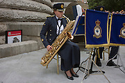 RAF musicians play near full-size Spitfire replica at the 70th anniversary of WW2 Battle of Britain.