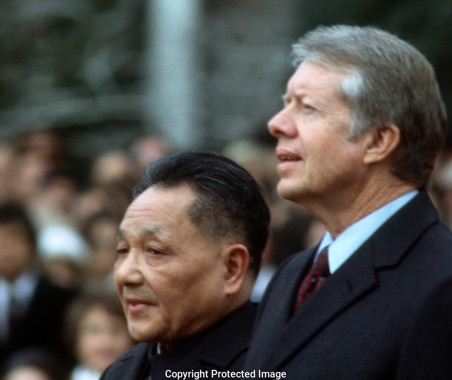1/1/1979.President Jimmy Carter with Teng Hsiao -Ping China at an arrrival ceremony on the south lawn ooooof the White House  January 1979.Photo by Dennis Brack
