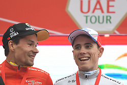 March 1, 2019 - Jebel Jais, United Arab Emirates - Primoz Roglic of Slovenia and Team Jumbo - Visma in the Red Leader Jersey, and David Gaudu of France and Team Groupama-FDJ in the White Jersey of Best Young Rider, pose for a photo, at the end of the sixth Rak Properties Stage of UAE Tour 2019, ahead of Tom Dumoulin (Sunweb Team), a 180km with a start from Ajman and finish in Jebel Jais. .On Friday, March 1, 2019, in Jebel Jais, Ras Al Khaimah Emirate, United Arab Emirates. (Credit Image: © Artur Widak/NurPhoto via ZUMA Press)