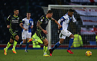 Blackburn Rovers' Dominic Samuel watched by Bristol Rovers' Tom Broadbent<br /> <br /> Photographer Stephen White/CameraSport<br /> <br /> The EFL Sky Bet League One - Saturday 25th November 2017 - Blackburn Rovers v Bristol Rovers - Ewood Park - Blackburn<br /> <br /> World Copyright © 2017 CameraSport. All rights reserved. 43 Linden Ave. Countesthorpe. Leicester. England. LE8 5PG - Tel: +44 (0) 116 277 4147 - admin@camerasport.com - www.camerasport.com