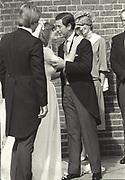 WILLIAM BARTHOLOMEW; CAROLYN BARTHOLOMEW; PRINCE CHARLES, PRINCESS OF WALES, Princess of Wales at the marriage of Carolyn Pride to William Bartholomew. Chelsea Old Church. London. 3 September 1982,