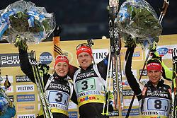 28.12.2013, Veltins Arena, Gelsenkirchen, GER, IBU Biathlon, Biathlon World Team Challenge 2013, im Bild Laura Dahlmeier (Deutschland / Germany), Florian Graf (Deutschland / Germany) jubeln waehrend der Siegerehrung, freuen sich, celebrating, Emtotion, Freude, Glueck, Luck // during the IBU Biathlon World Team Challenge 2013 at the Veltins Arena in Gelsenkirchen, Germany on 2013/12/28. EXPA Pictures © 2013, PhotoCredit: EXPA/ Eibner-Pressefoto/ Schueler<br /> <br /> *****ATTENTION - OUT of GER*****