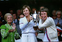 Tennis - 1979 Wimbledon Championships <br />Womens doubles Final.<br />Martina Navratilova and Billie Jean King v Betty Stove and Wendy Turnbull <br /><br />Martina Navratilova and Billie Jean King (Winners) collect their trophy in the Royal box<br />HRH The Duchess of Kent (left)<br /><br />Colorsport / Andrew Cowie