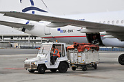 Passengers board an Aegean Airlines Airbus A320-200 at Ben Gorion international airport, Israel