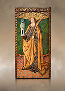 Gothic Aaltarpiece of Saint Barbara, 3rd quarter of the 15th century, tempera and gold leaf on for wood.  National Museum of Catalan Art, Barcelona, Spain, inv no: MNAC   114746-7. Against a art background. . .<br /> <br /> If you prefer you can also buy from our ALAMY PHOTO LIBRARY  Collection visit : https://www.alamy.com/portfolio/paul-williams-funkystock/gothic-art-antiquities.html  Type -     MANAC    - into the LOWER SEARCH WITHIN GALLERY box. Refine search by adding background colour, place, museum etc<br /> <br /> Visit our MEDIEVAL GOTHIC ART PHOTO COLLECTIONS for more   photos  to download or buy as prints https://funkystock.photoshelter.com/gallery-collection/Medieval-Gothic-Art-Antiquities-Historic-Sites-Pictures-Images-of/C0000gZ8POl_DCqE