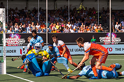 Thierry Brinkman of The Netherlands scores during the Champions Trophy match between the Netherlands and India on the fields of BH&BC Breda on June 30, 2018 in Breda, the Netherlands