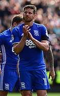 Lukas Jutkiewicz of Birmingham claps off the fans.  EFL Skybet championship match, Aston Villa v Birmingham city at Villa Park in Birmingham, The Midlands on Sunday 23rd April 2017.<br /> pic by Bradley Collyer, Andrew Orchard sports photography.