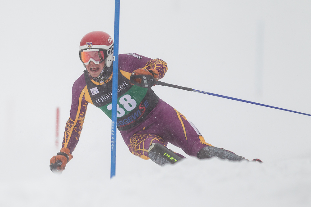Christoph Lentz of Williams College, skis during the first run of the men's slalom at Jiminy Peak on February 14, 2014 in Hancock, MA. (Dustin Satloff/EISA)