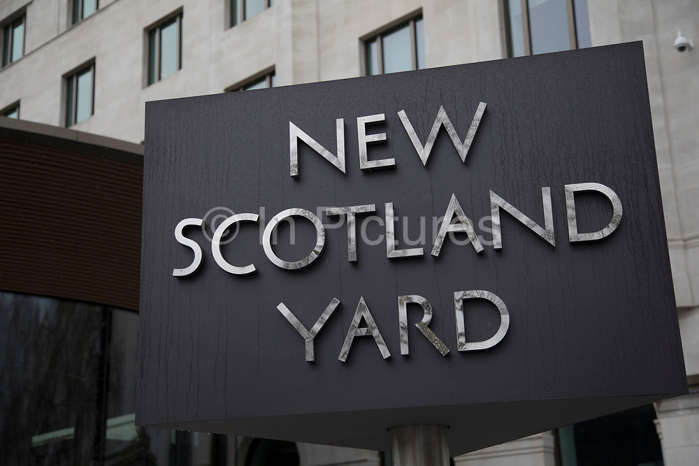 The Metropolitan Polices revolving sign their new headquarters at New Scotland Yard in Westminster, London. Scotland Yard officially New Scotland Yard, though an Old Scotland Yard has never existed is a metonym for the headquarters of the Metropolitan Police Service, the territorial police force responsible for policing most of London. The Metropolitan Police Service employs around 31,000 officers plus about 13,000 police staff and 2,600 Police Community Support Officers PCSOs. The Met covers an area of 620 square miles and a population of 7.2 million.
