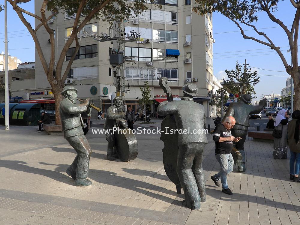 Klezmers statue in the pedestrian street, Netanya, Israel