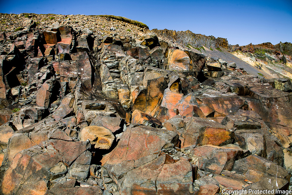 A complex rhyolite dyke on the seashore at Barðsnes, on Iceland's eastern tip