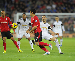 Swansea City's Chico battles for the ball with Cardiff City's Peter Whittingham - Photo mandatory by-line: Joe Meredith/JMP - Tel: Mobile: 07966 386802 03/11/2013 - SPORT - FOOTBALL - The Cardiff City Stadium - Cardiff - Cardiff City v Swansea City - Barclays Premier League