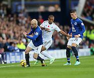 Everton's Stevn Naismith tussles with Swansea's Wayne Routeledge<br /> <br /> Barclays Premier League- Everton vs Swansea City - Goodison Park - England - 1st November 2014 - Picture David Klein/Sportimage