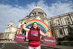 Tommy's mascot outside St Paul's Cathedral ahead of the 2019 London Landmarks Half Marathon.