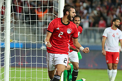 November 16, 2018 - Alexandria, Egypt - Egypts Baher Elmohamdy Reacts during the Africa Cup of Nations qualifier match between Egypt and Tunis in Borg Al-Arab stadium in Alexandria, Egypt, on 16 November 2018.  Egypts beat tunis 3-2. (Credit Image: © Ahmed Awaad/NurPhoto via ZUMA Press)