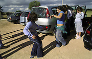 Girls from Tecnico team dancing by the cars before leaving back home after a weekend training together with Vilamoura team. As women rugby is still not widespreaded, some teams gather for training.