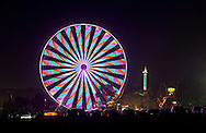 Mechanicstown, New York - Colorful lights on the ferris wheel form streaks at night at the Orange County Fair on July 22, 2012.