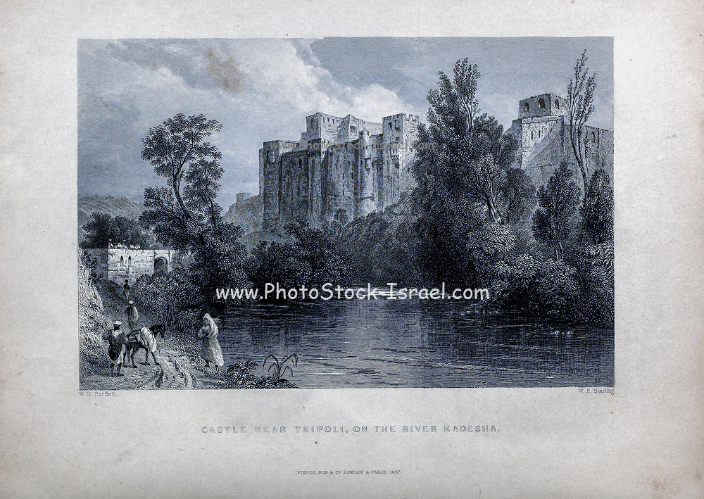 Castle near Tripoli [Lebanon] on the River Kadesh  from Volume 2 of Syria, the Holy Land, Asia Minor, &c. by Carne, John, 1789-1844; Illustrated by Bartlett, W. H. (William Henry), 1809-1854, and Allom, Thomas, 1804-1872 Published in London in 1837