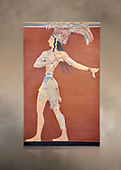 Minoan 'Prince of the Lilies' wall art freco, Knossos Palace, 1600-1450 BCHeraklion Archaeological Museum.<br /> <br /> An emblematic image of Minoan Crete this fresco was part of a larger composition in high relief. The fresco depicts a life size figure wearing a coloured kilt with a cod piece and a belt. A majestic crown on his head is adorned with papyrus lilies and peacock feathers. Neopalatial Period. .<br /> <br /> If you prefer to buy from our ALAMY PHOTO LIBRARY  Collection visit : https://www.alamy.com/portfolio/paul-williams-funkystock/minoan-art-artefacts.html . Type -   Heraklion   - into the LOWER SEARCH WITHIN GALLERY box. Refine search by adding background colour, place, museum etc<br /> <br /> Visit our MINOAN ART PHOTO COLLECTIONS for more photos to download  as wall art prints https://funkystock.photoshelter.com/gallery-collection/Ancient-Minoans-Art-Artefacts-Antiquities-Historic-Places-Pictures-Images-of/C0000ricT2SU_M9w