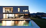 Modern villa, night scene,view from poolside