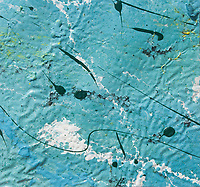 rough texture blue abstract painting with spots and lines