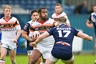 Bradford Bulls replacement Ross Peltier (17) in action  during the Kingstone Press Championship match between Swinton Lions and Bradford Bulls at the Willows, Salford, United Kingdom on 20 August 2017. Photo by Simon Davies.