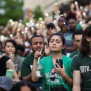 CHARLOTTE NC - MAY 1: Students and faculty pack into The Star Quad for a  candle light vigil honoring the victims of a shooting the day earlier on the University of North Carolina Charlotte campus in University City, Charlotte, NC on April 30, 2019.  (Logan Cyrus for AFP)
