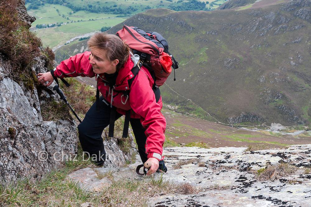 Ascending the rock slab near the top of Brackenthwaite Fell on Grasmoor