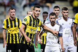 Oussama Darfalou of Vitesse and Alen Kozar of NS Mura  during football match between NS Mura and Vitesse (NED) in 1st round of UEFA Europa Conference League 2021/22, on 16 of September, 2021 in Ljudski Vrt, Maribor, Slovenia. Photo by Blaž Weindorfer / Sportida