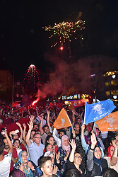 Supporters of Turkey's President and ruling Justice and Development Party, or AKP, leader Recep Tayyip Erdogan celebrate elections victory in Manisa, Sunday, June 24, 2018. Unofficial results from Turkey's presidential election show incumbent Recep Tayyip Erdogan with a commanding lead. Photo by Nermin Uctu/DHA/Depo Photos/ABACAPRESS.COM