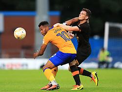 Andy Robertson of Hull City challenges Matt Green of Mansfield - Mandatory by-line: Matt McNulty/JMP - 19/07/2016 - FOOTBALL - One Call Stadium - Mansfield, England - Mansfield Town v Hull City - Pre-season friendly